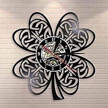 SHILLPS Irish Clover Leaf Shamrock Wall Clock