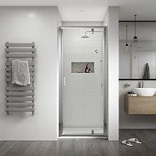Shine 8 Semi Frameless Pivot Shower Door 760mm
