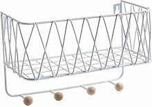 ShinePine Wire Storage Basket with Hooks, Key