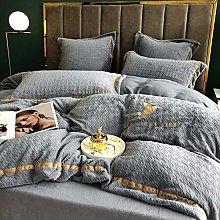 Shinon Bedding Duvet Cover 3 Piece Set-Milk velvet