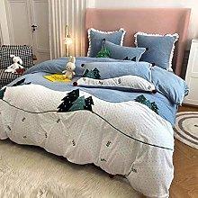 Shinon teddy fleece bedding king size set-Milk