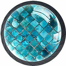 Shiny Turquoise Ceramic 4 Packs Kitchen Cabinet