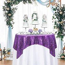 ShinyBeauty 50x50Inch Square Purple Sequin