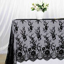 ShinyBeauty Black Lace Tablecloth 60x120 Inch Lace
