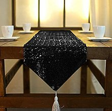 ShinyBeauty Black Sequin Table Runner Tassel