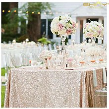 ShinyBeauty Champagne Sequin Tablecloth Large