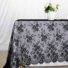 ShinyBeauty Lace Tablecloth 60x120 Inch Black Lace