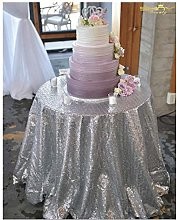 ShinyBeauty Round Tablecloth 48 Inches Sequin