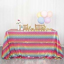 ShinyBeauty Sequin Table Cloth Rainbow 50x80-Inch