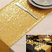 ShinyBeauty Sequin Table Runner 14x108-Inch Gold