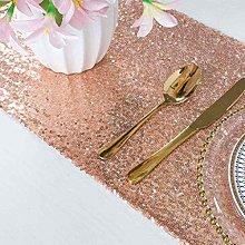 ShinyBeauty Sequin Table Runner Rose Gold 12x72