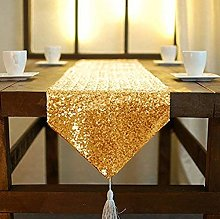 ShinyBeauty Sequin Table Runner Tassel 108 Inches