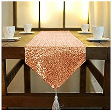 ShinyBeauty Sequin Table Runners with Tassle Rose