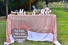ShinyBeauty Sequin Tablecloth-125x180cm-Pink Gold