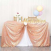 ShinyBeauty Sequin Tablecloth-125x180cm-Rose Gold