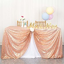 ShinyBeauty Sequin Tablecloth-125x180cm-Rose Gold