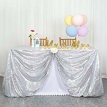 ShinyBeauty Sequin Tablecloth-125x180cm-Silver