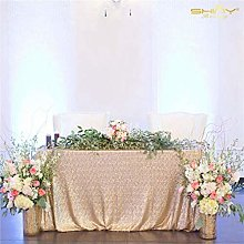 ShinyBeauty Sequin Tablecloth-60x102in-Champagne