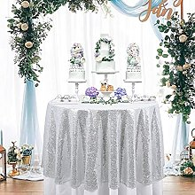 ShinyBeauty Sequin Tablecloth-Silver-60Inch Round