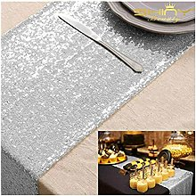 ShinyBeauty Silver Sequin Table Runner and Sequin