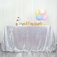 ShinyBeauty Silver Sequin Tablecloth Sequin Table
