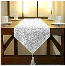 ShinyBeauty Table Runner Silver Tassel 12x90-Inch