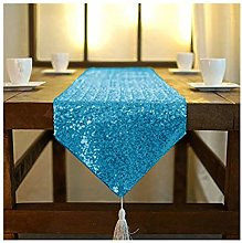 ShinyBeauty Turquoise Party Runner 14x108-Inch