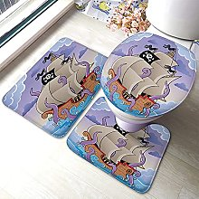 Ship Bathmat,Pirate Ship with Octopus Tentacles In