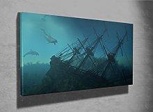 Ship Wreck underwater photo framed canvas print