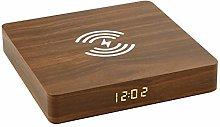 SHJMANPA Wireless Charger Alarm Clock LED Wood