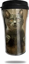 Shocked Cat Gray Travel Coffee Mug 3D Printed