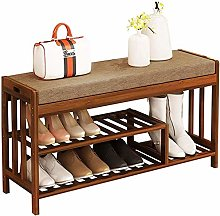Shoe Boot Rack Bench Walnut Color For Entryway