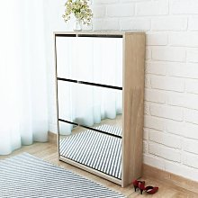 Shoe Cabinet 3-Layer Mirror Oak 63x17x102.5 cm