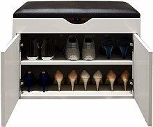 Shoe Cabinet Bench With PU Cushion Locker 2-shelf