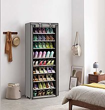 Shoe Cabinet Fabric Cupboard with 10 Levels Grey