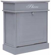 Shoe Cabinet Grey 50x28x58 cm Paulownia Wood
