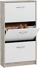 Shoe Cabinet with 3 Tilting Compartments White and