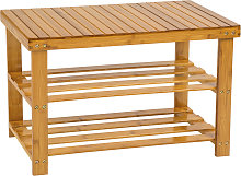 Shoe rack bamboo with bench - brown