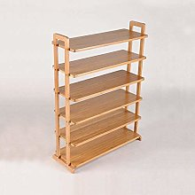 Shoe Rack, Shelf 6-Layer Natural Bamboo with