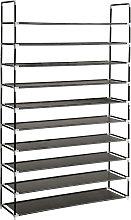 Shoe rack with 10 shelves - black
