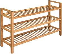 Shoe Rack with 3 Shelves 100x27x59.5 cm Solid Oak