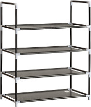 Shoe rack with 4 shelves - black