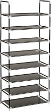 Shoe rack with 8 shelves - black