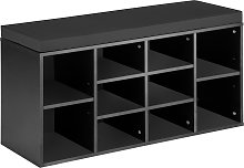 Shoe rack with bench - black/grey