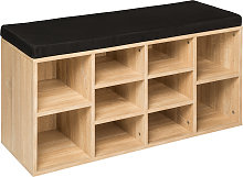 Shoe rack with bench - black/light oak