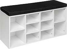 Shoe rack with bench - black/white