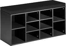 Shoe rack with bench - black