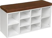 Shoe rack with bench - brown/white