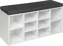 Shoe rack with bench - grey/white