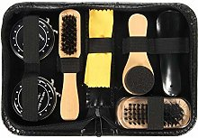 Shoe Shine Care Kit Black & Neutral Polish Brush